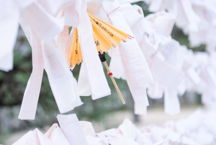 yellow-cocktail-umbrellas-amongst-wishes-at-a-shinto-temple